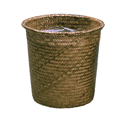 """Picture of 12"""" Rolled Rim Palm Leaf Potcover-Dark Stain"""