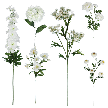 """Picture of 25""""-36"""" White Bouquet in a Box - 6 Assorted"""