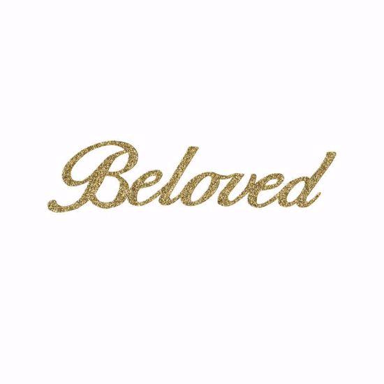 """Picture of 1.5"""" Glitter Gold Script-Beloved"""