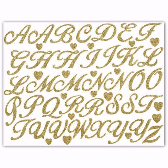"Picture of 1.5"" Glitter Gold Script-Caps"