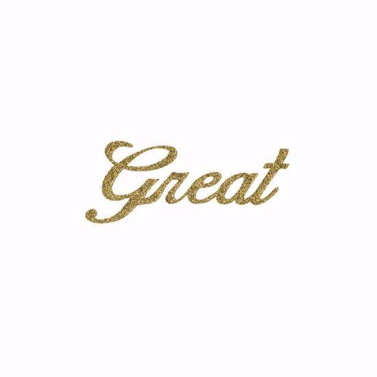 "Picture of 1.5"" Glitter Gold Script-Great"