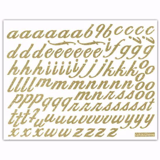 "Picture of 1.5"" Glitter Gold Script-Lowercase"