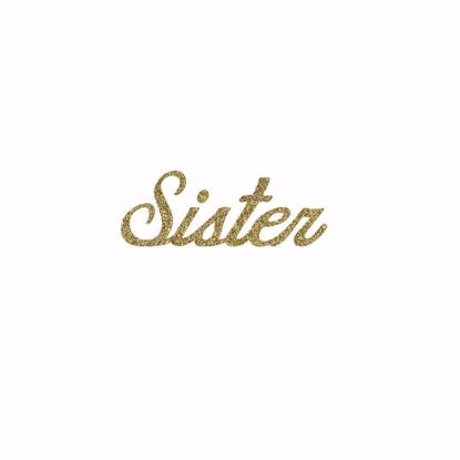 "Picture of 1.5"" Glitter Gold Script-Sister"