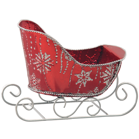 Picture of Red Metal Sleigh with Glittering Snowflakes
