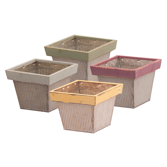 """Picture of 4 Assorted 4.5"""" Metal Squares with Wooden Tops"""