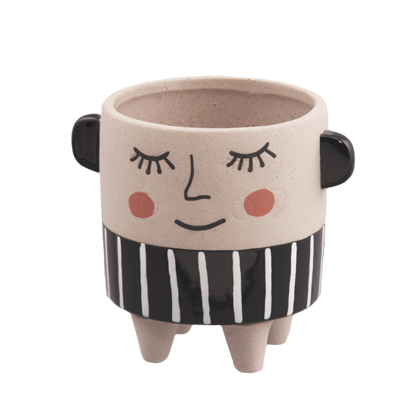 Picture of Blushing Smile Stoneware Footed Pot