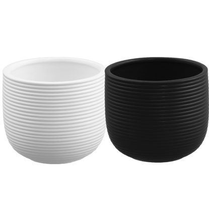 """Picture of 2 Assorted 4"""" Black and White Grooved Planters"""