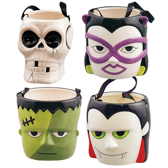 Picture of 4 Assorted Halloween Character Pots with Ribbon Handle