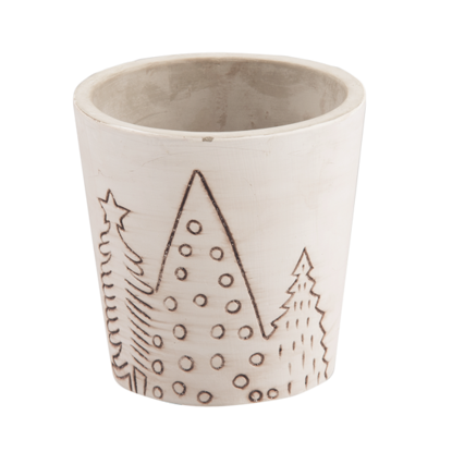 """Picture of White Cement Christmas Tree Pot 3.75"""""""