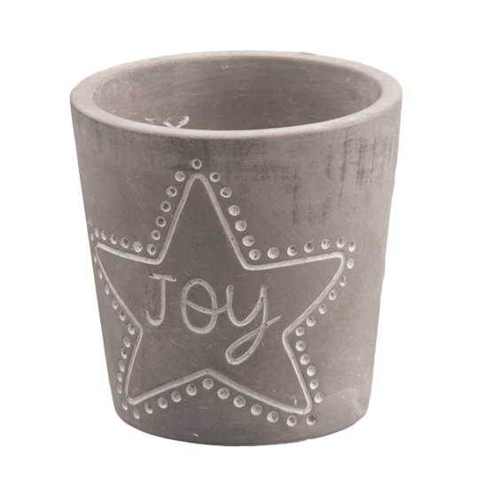 "Picture of Gray Cement ""Joy"" Pot 3.75"""