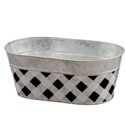 """Picture of Black and White Gingham Oval Metal Planter 10"""""""
