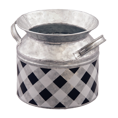 Picture of Black and White Gingham Metal Milk Can Vase