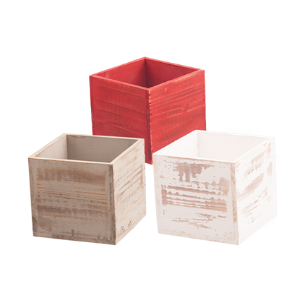 """Picture of Wooden Box Assortment-Red, Gray & White-4"""""""