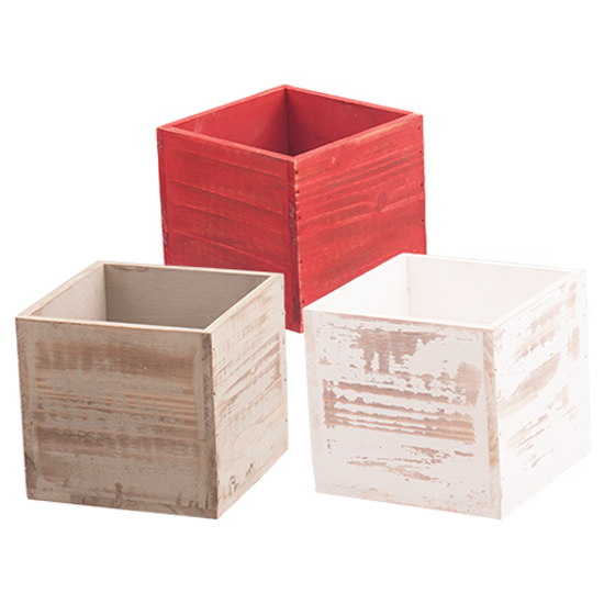 """Picture of Wooden Box Assortment-Red, Gray & White-6"""""""