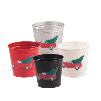 """Picture of 4 Assorted Metal Potcovers-Red Truck with Evergreen 4.75"""" Opening"""