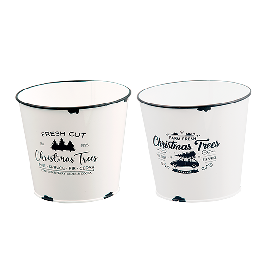 """Picture of White Enamel Christmas Tree Pot Covers-2 Assorted 4.75"""""""