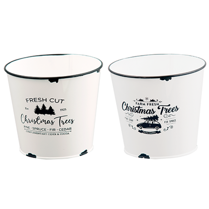"""Picture of White Enamel Christmas Tree Pot Covers-2 Assorted 5.75"""""""