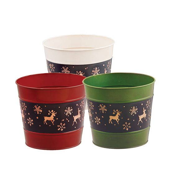 """Picture of 3 Assorted Holiday Theme Metal Potcovers-4.75"""" opening"""