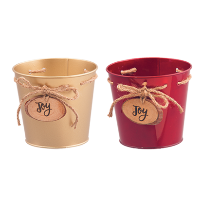 """Picture of Red and Gold Metal Pots with Joy Medallion 4.75"""""""