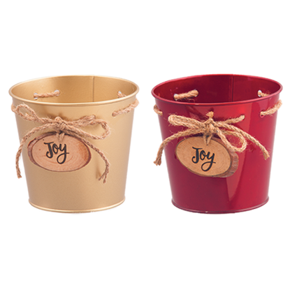 """Picture of Red and Gold Metal Pots with Joy Medallion 5.75"""""""