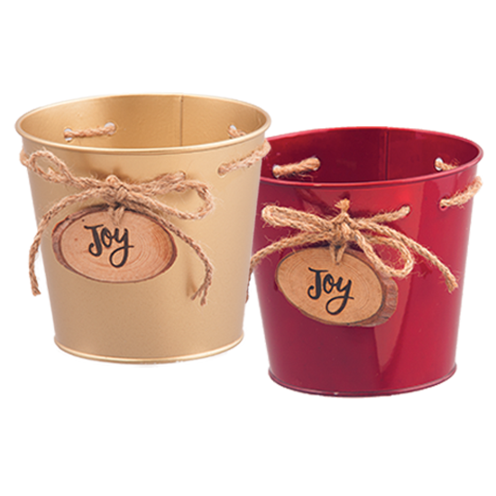 """Picture of Red and Gold Metal Pots with Joy Medallion 6.75"""""""