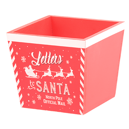 """Picture of """"Letters to Santa"""" Square Red Wooden Planter 7"""""""