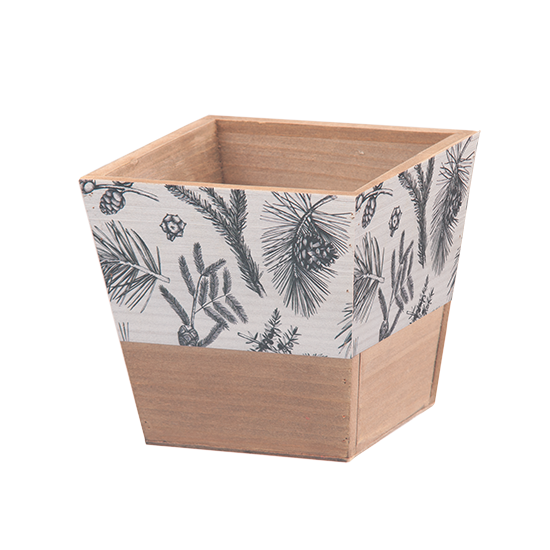 """Picture of Square Wooden Box with Black and White Evergreen Print 4.5"""""""