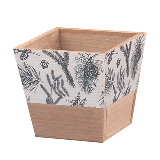 """Picture of Square Wooden Box with Black and White Evergreen Print 6"""""""