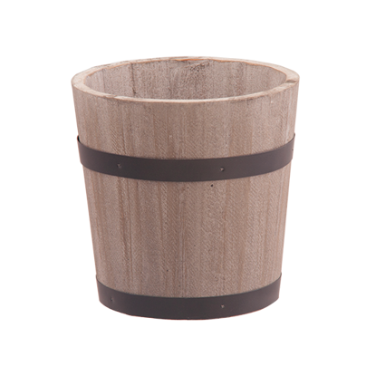 """Picture of Gray/Natural Wooden Whisky Barrel with Black Metal Bands 4"""""""