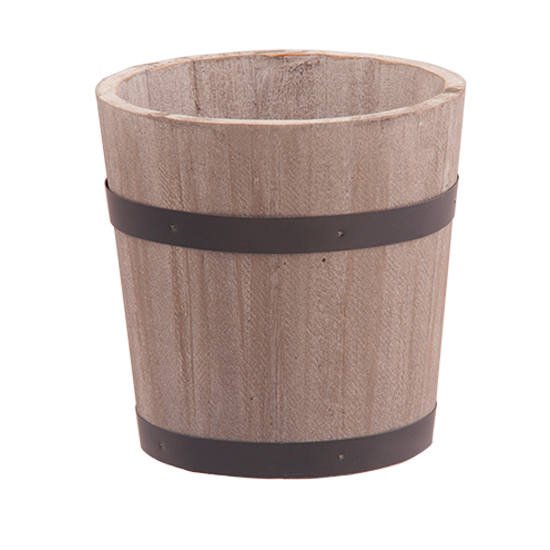 """Picture of Gray/Natural Wooden Whisky Barrel with Black Metal Bands 5"""""""