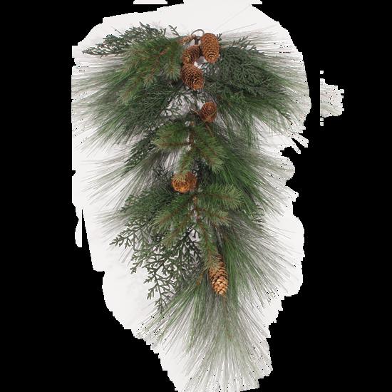 "Picture of Evergreen Teardrop-Mixed Pine with Cedar Cones (Plastic, 30"")"