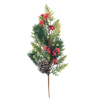 """Picture of Evergreen Spray-Mixed Pine with Snowy Cones and Berries (7 Branches, 22.5"""")"""