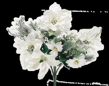 """Picture of White Glitter Poinsettia and Cedar Bush (20.5"""")"""