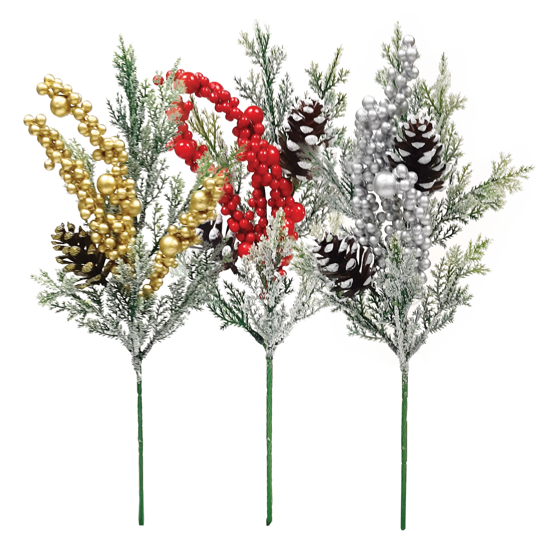 """Picture of Holiday Pick-Cedar with Cones and Berries (3 Assorted Colors, 10"""")"""