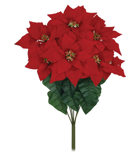 """Picture of Red Poinsettia Bush (21"""", 7 Stems)"""