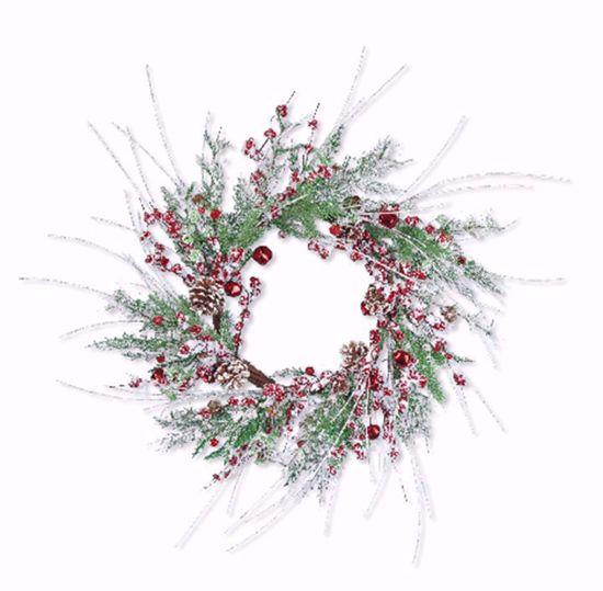 "Picture of Festive Winter Wreath-Flocked Glitter Bell (20"", Plastic)"