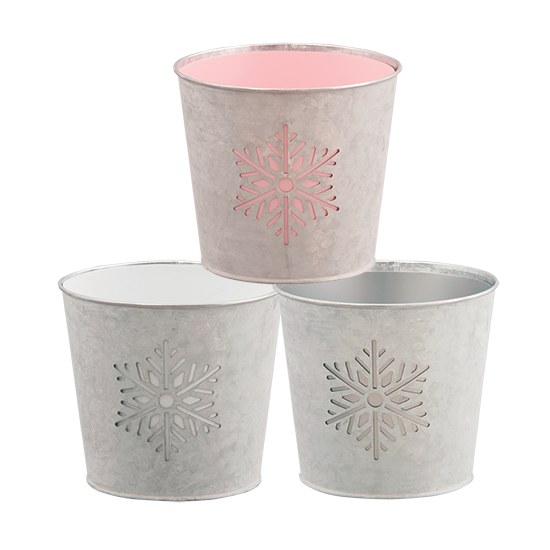 """Picture of Snowflake cutout potcover-Pink, White & Gray 6.75"""""""