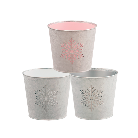 """Picture of Snowflake cutout potcover-Pink, White & Gray 4.75"""""""