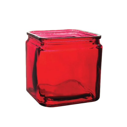 """Picture of 4"""" Square Vase-Ruby"""