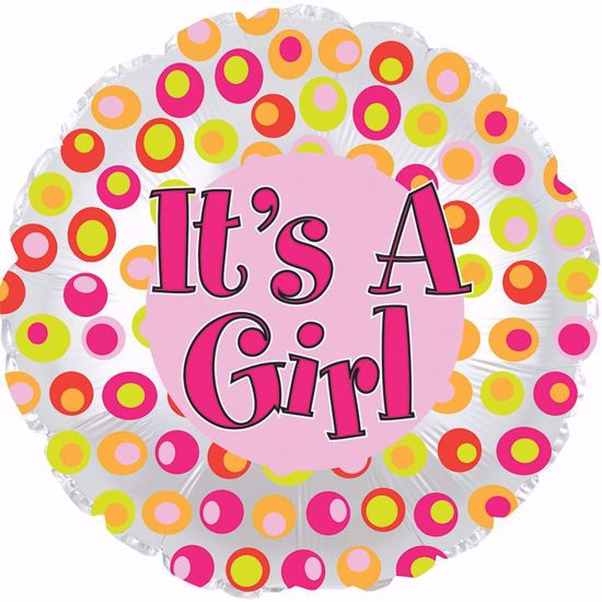 """Picture of 17"""" 2-Sided Foil Balloon: It's a Girl Colorful Dots"""