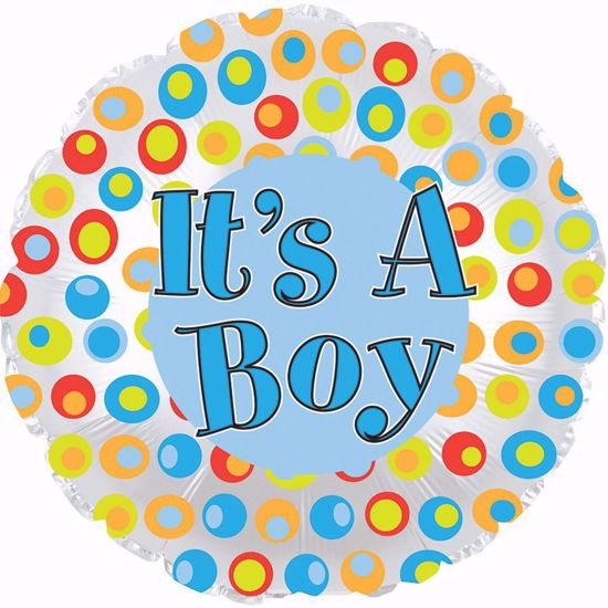 """Picture of 17"""" 2-Sided Foil Balloon: It's a Boy Colorful Dots"""