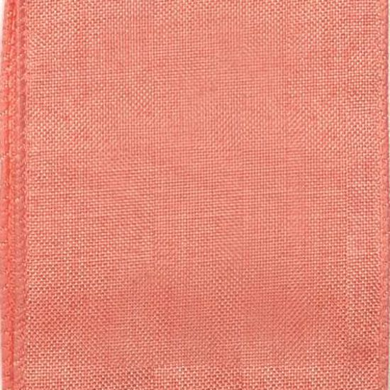 Picture of #9 Linen Canvas Wired Ribbon- Coral