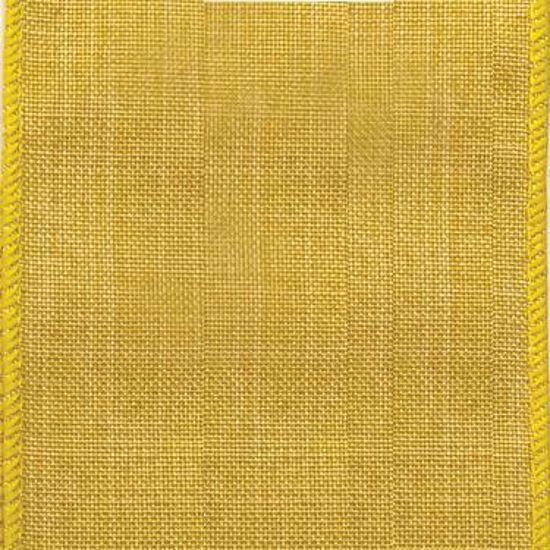 Picture of #9 Linen Canvas Wired Ribbon- Daffodil