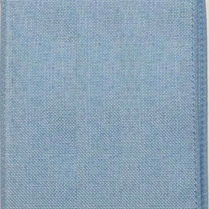 Picture of #9 Linen Canvas Wired Ribbon- Light Blue