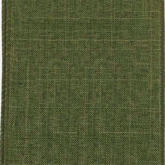 Picture of #9 Linen Canvas Wired Ribbon- Moss