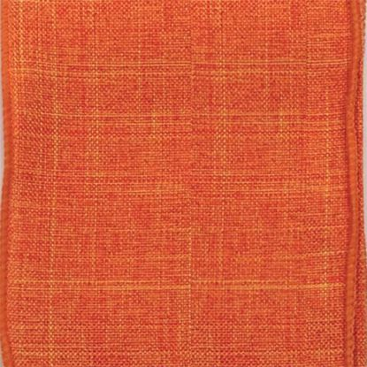 Picture of #9 Linen Canvas Wired Ribbon- Orange