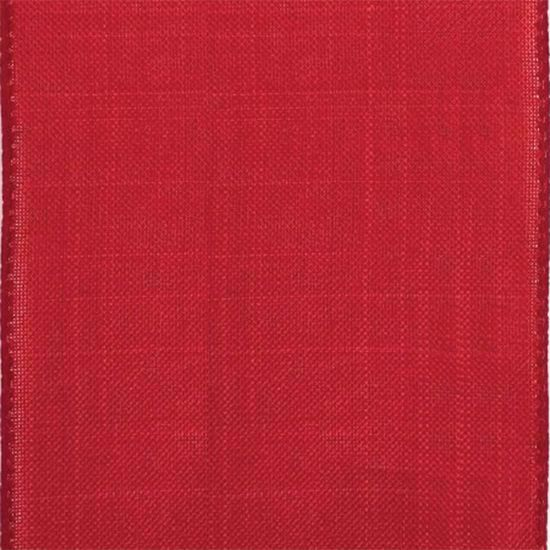 Picture of #9 Linen Canvas Wired Ribbon- Red