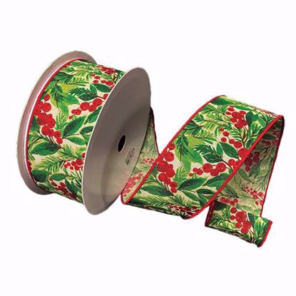 Picture of #40 Wired Edge Ribbon- Holly