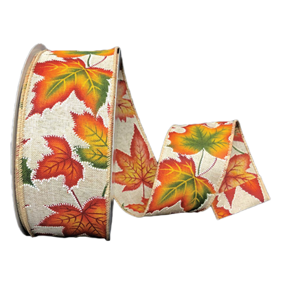 Picture of #40 Wired Edge Ribbon- Fall Leaves
