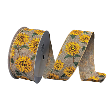 Picture of #40 Wired Edge Ribbon- Sunflower